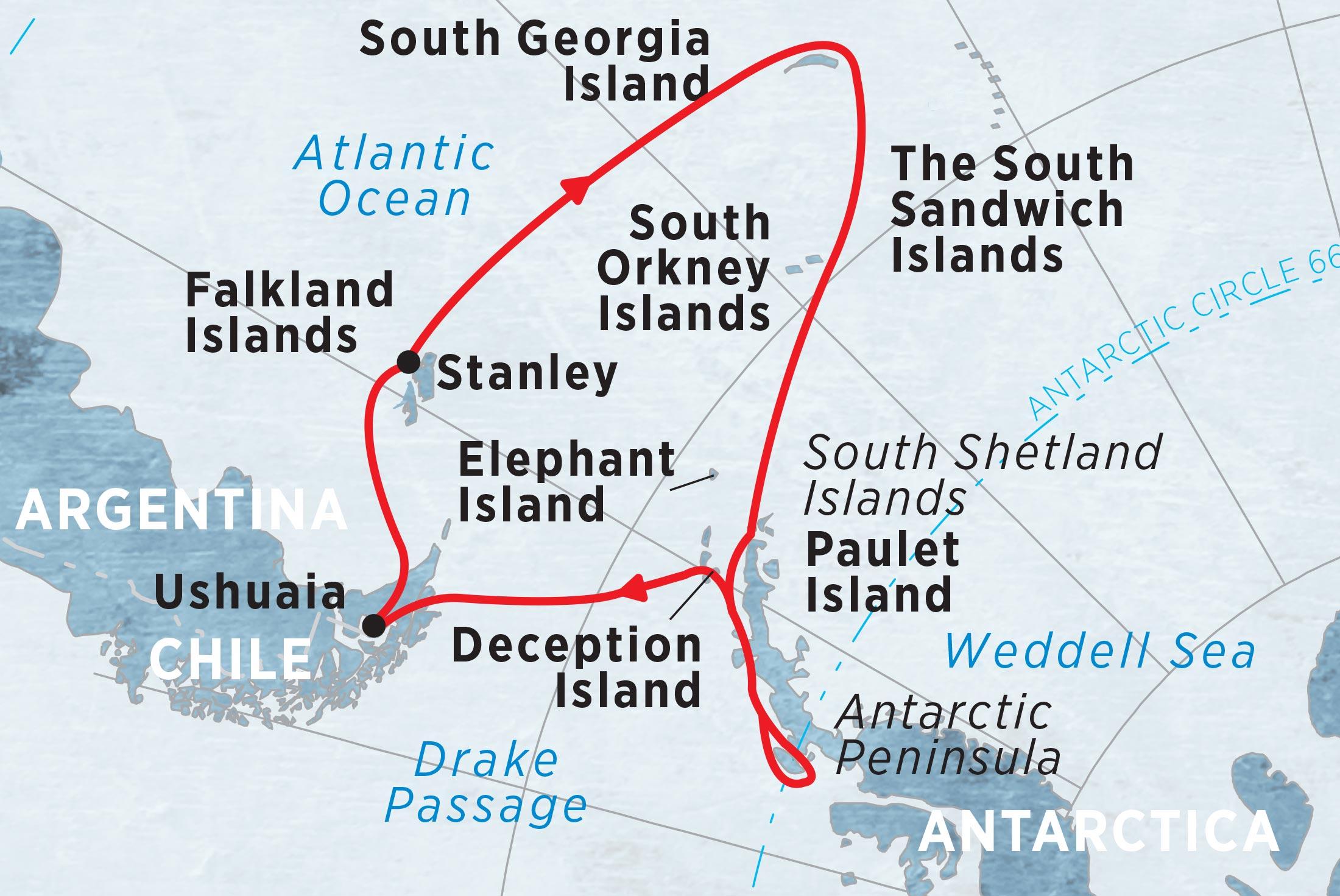 Crossing the Circle via Falklands & South Georgia (Sea Adventurer) 2017-18