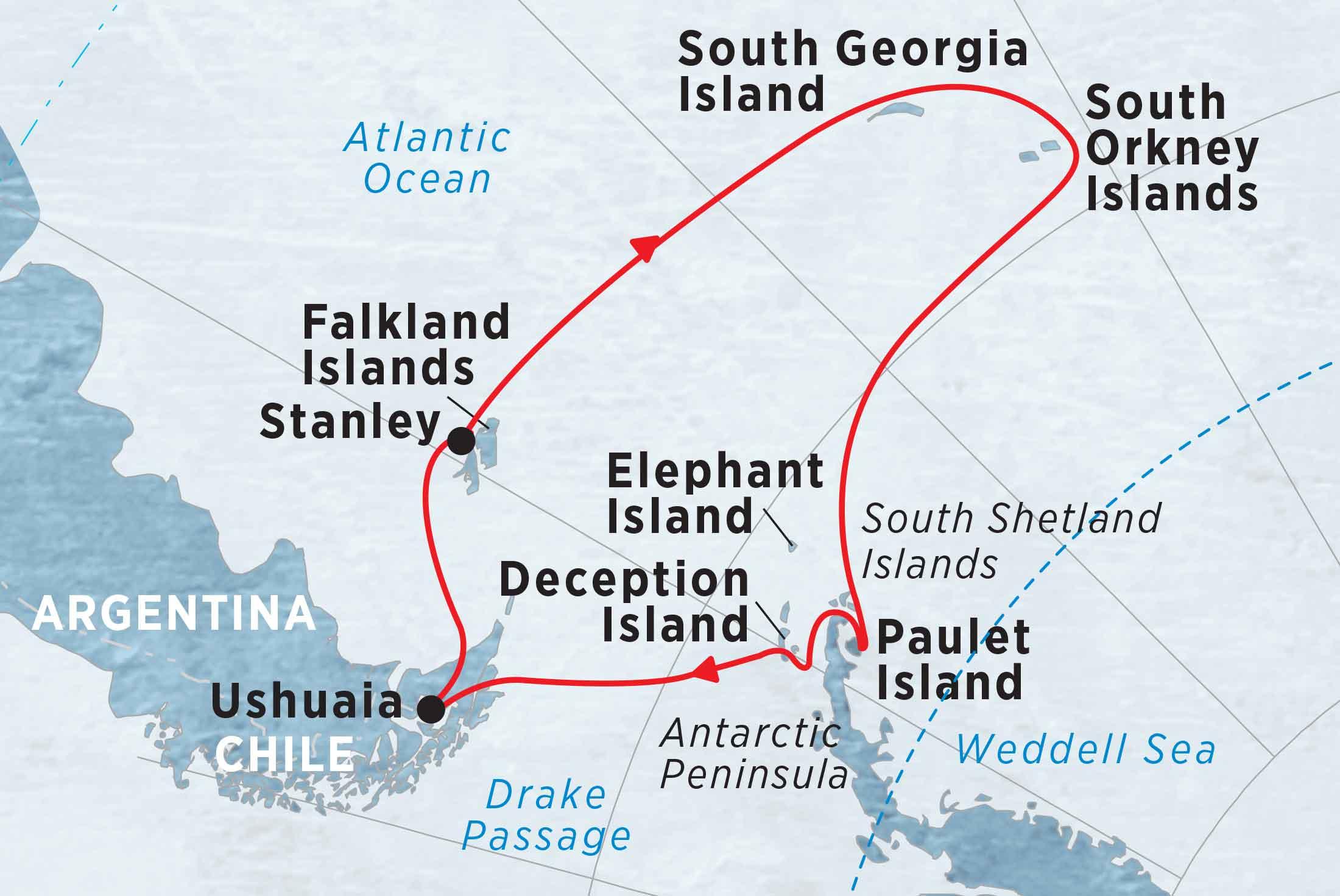 Antarctic Peninsula, Falkland Islands & South Georgia from Ushuaia Map