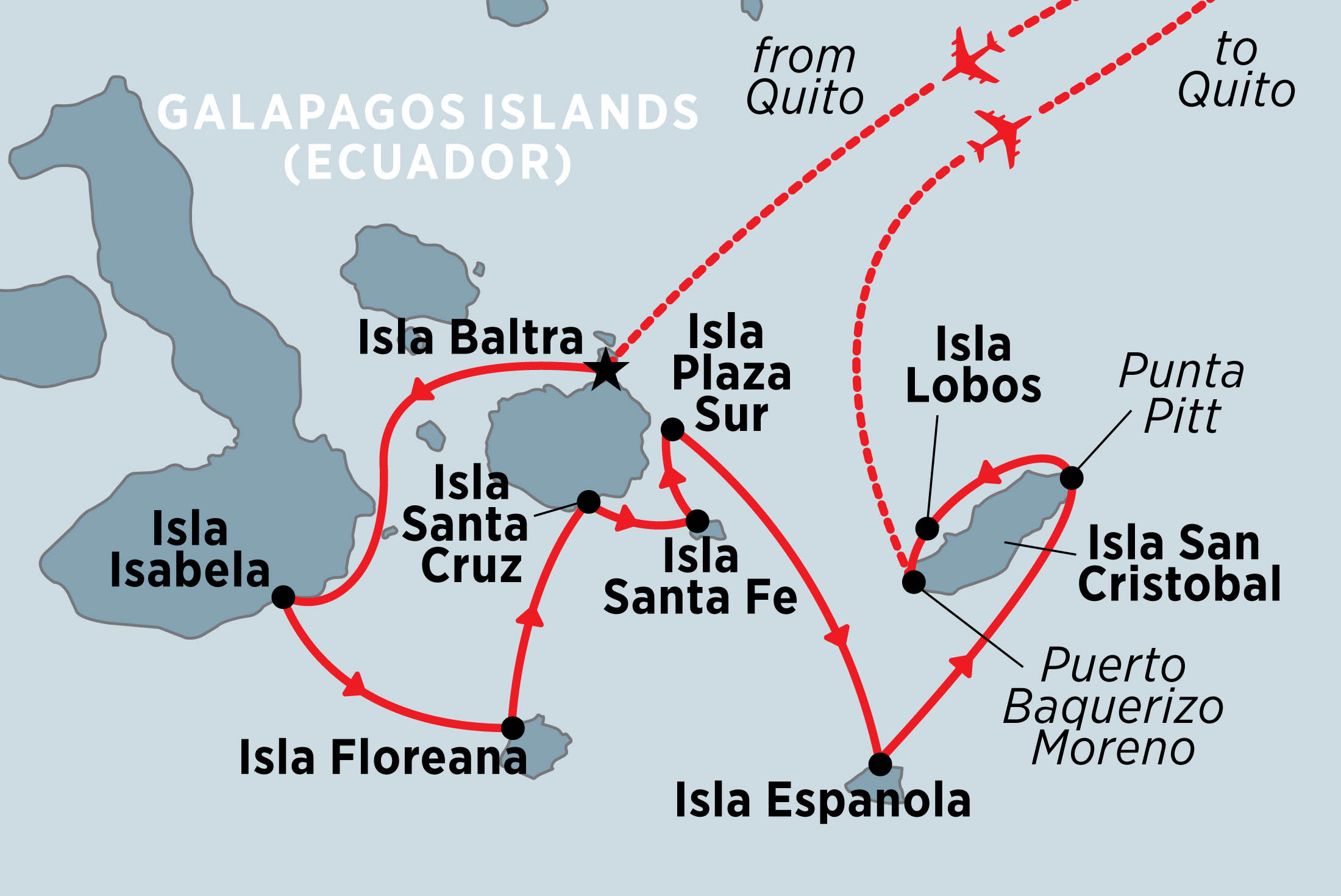 Map for Classic Galapagos: Southern Islands (Grand Queen Beatriz)