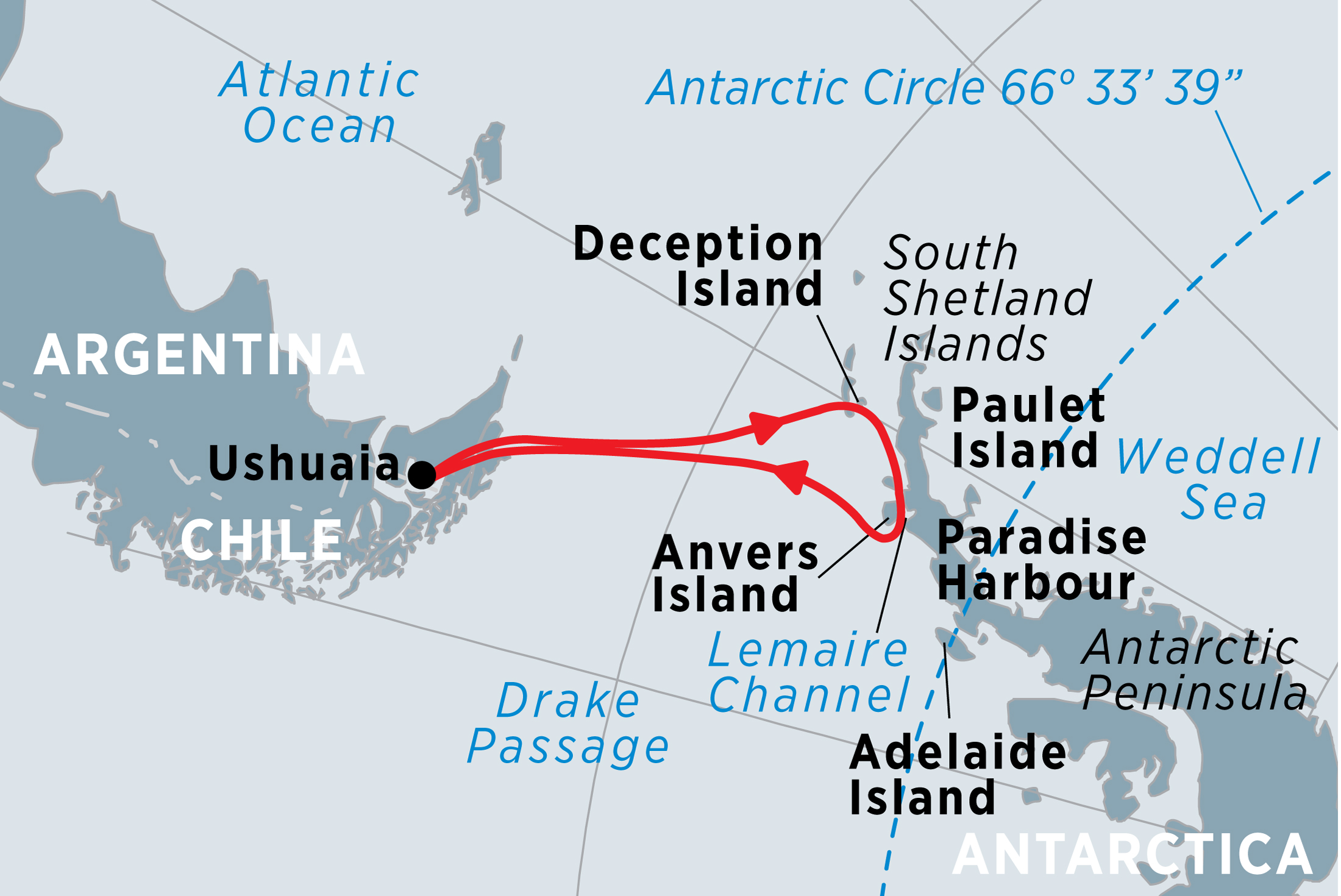 New Year in Antarctica Map